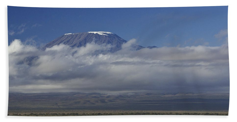 Africa Hand Towel featuring the photograph Kilimanjaro With Elephants by Michele Burgess