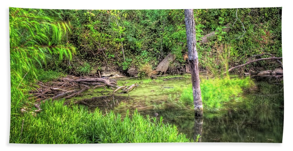 Hdr Bath Sheet featuring the photograph Kill Creek 8388 by Timothy Bischoff