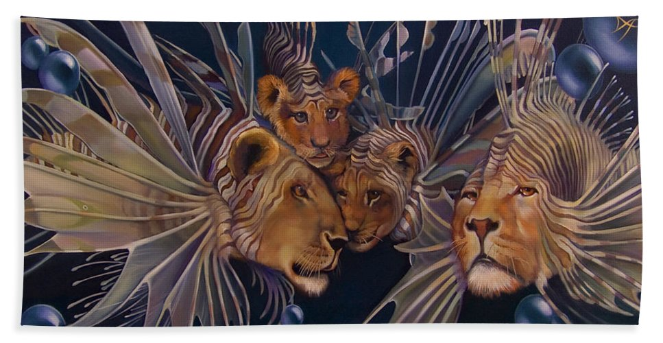 Lion Hand Towel featuring the painting Kindred Lionfish by Patrick Anthony Pierson