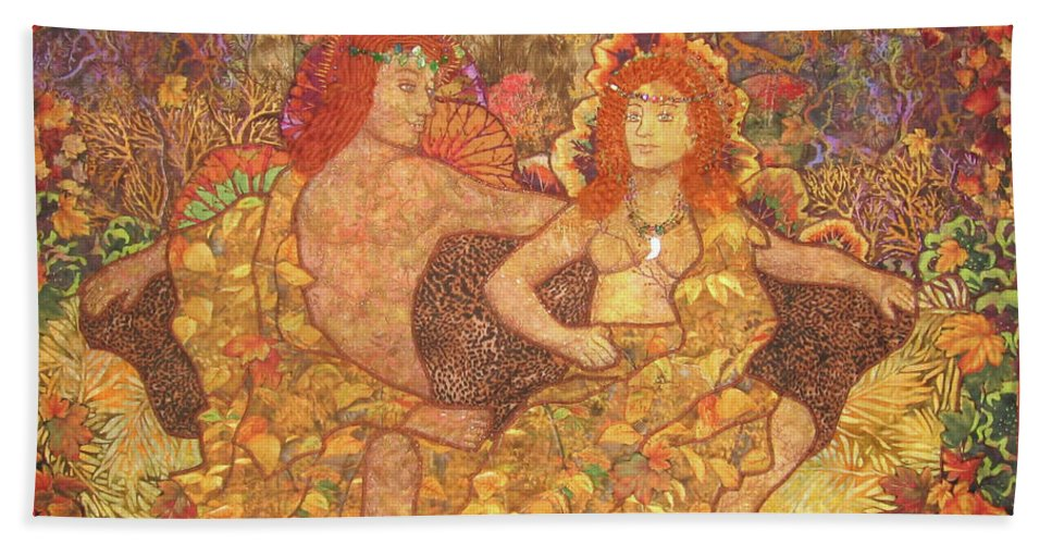 Nature Hand Towel featuring the tapestry - textile King And Queen Of The Fall by Carol Bridges