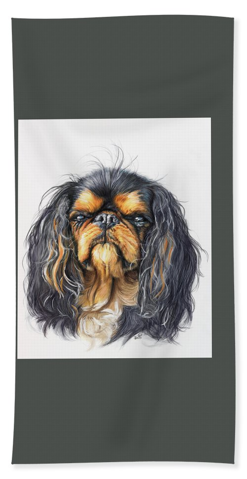 Toy Breed Bath Towel featuring the painting King Charles Spaniel In Watercolor by Barbara Keith