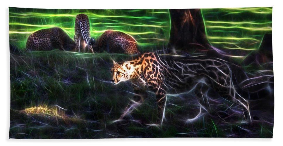 #cheetah Hand Towel featuring the photograph King Cheetah And 3 Cubs by Miroslava Jurcik