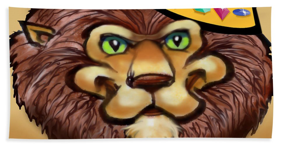 Lion Bath Sheet featuring the digital art King by Kevin Middleton