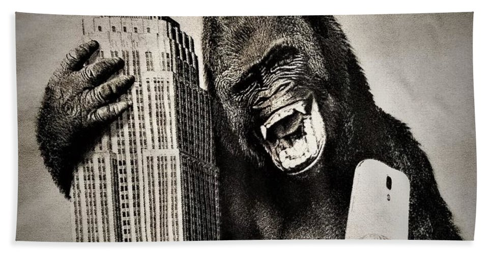 Architecture Bath Sheet featuring the photograph King Kong Selfie by Rob Hans