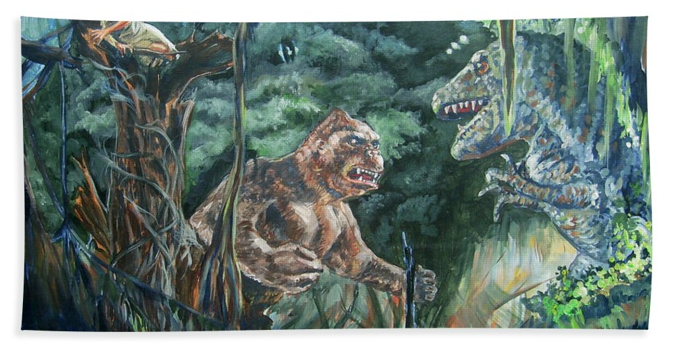 King Kong Hand Towel featuring the painting King Kong Vs T-rex by Bryan Bustard