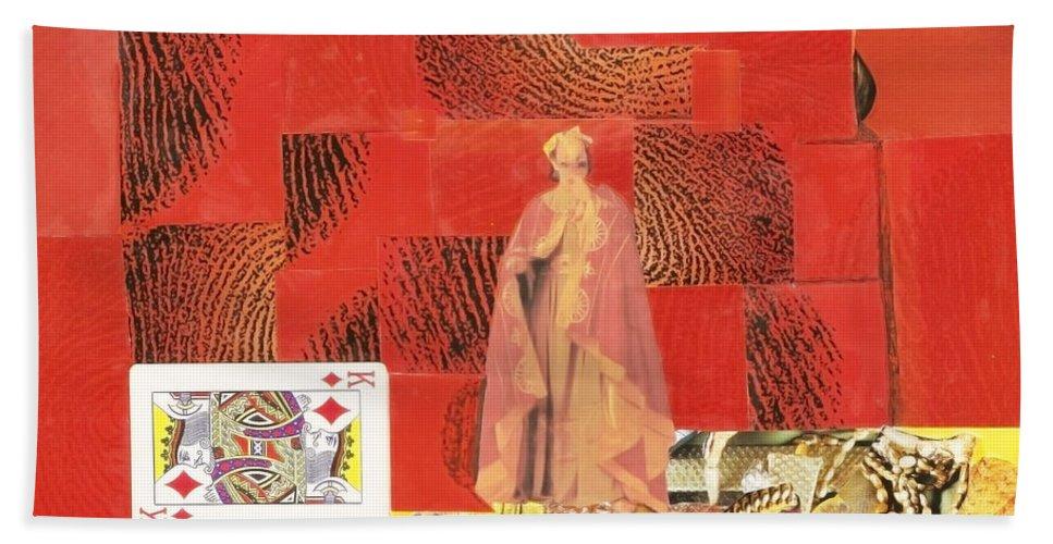 King Bath Sheet featuring the mixed media King Of Diamonds by Keshava Shukla