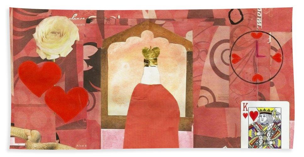 King Bath Sheet featuring the mixed media King Of Hearts by Keshava Shukla