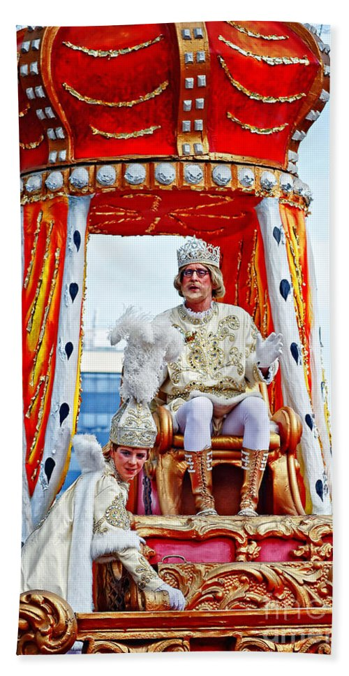 Mardi Gras Bath Sheet featuring the photograph King Of Rex And Page - Mardi Gras New Orleans by Kathleen K Parker