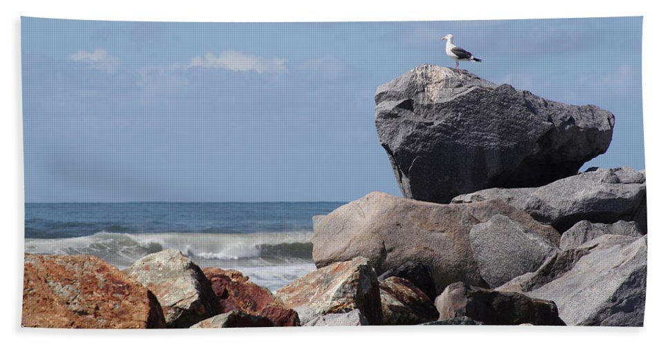 Beach Bath Sheet featuring the photograph King Of The Rocks by Margie Wildblood