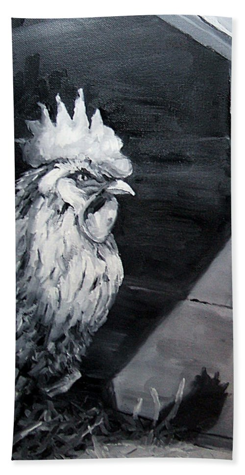 Animal Bath Towel featuring the painting King Of The Roost by Diane Kraudelt