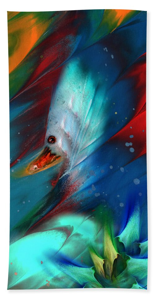 Bird Hand Towel featuring the painting King Of The Swans by Miki De Goodaboom