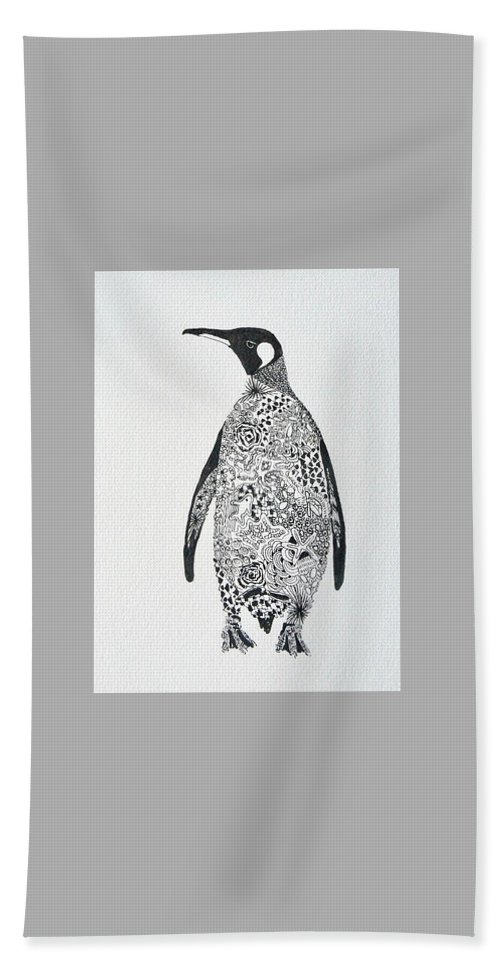 Penguin Bath Sheet featuring the painting King Penguin by Yvonne Ankerman