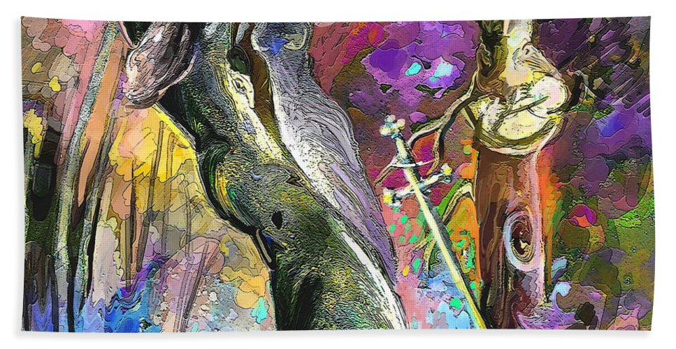 Religion Hand Towel featuring the painting King Solomon And The Two Mothers by Miki De Goodaboom