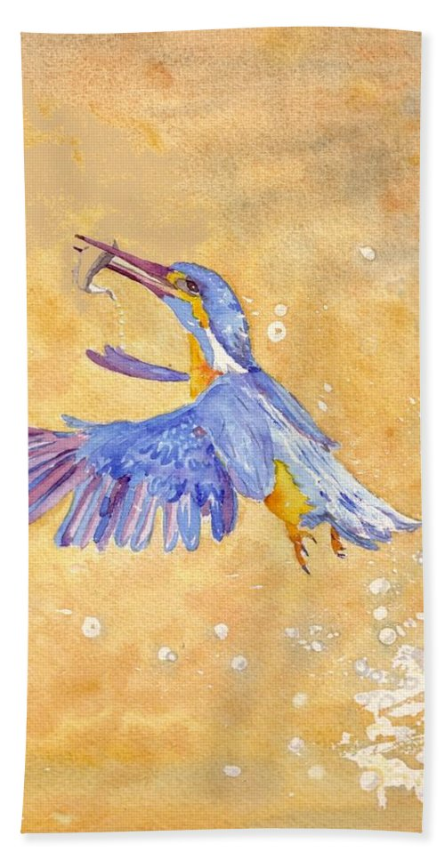 Kingfisher Hand Towel featuring the painting Kingfisher by Christine Burn