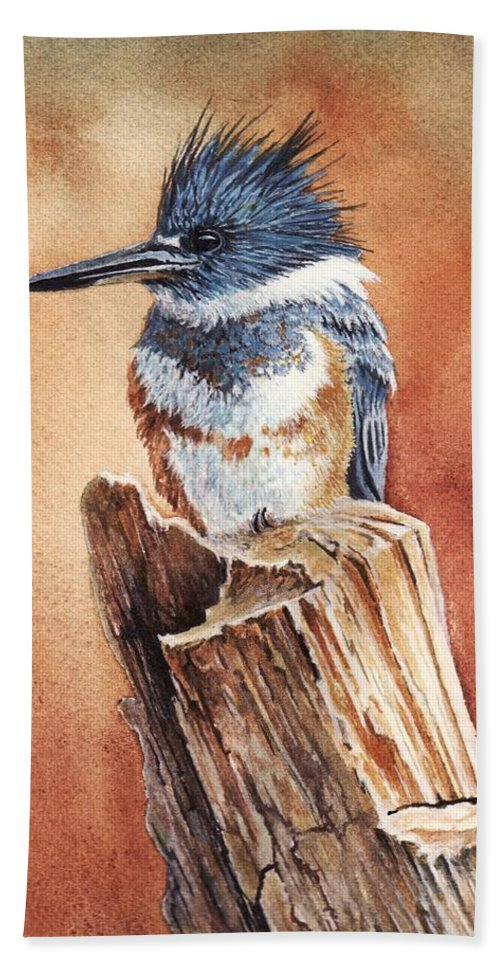 Bird Hand Towel featuring the painting Kingfisher I by Greg and Linda Halom