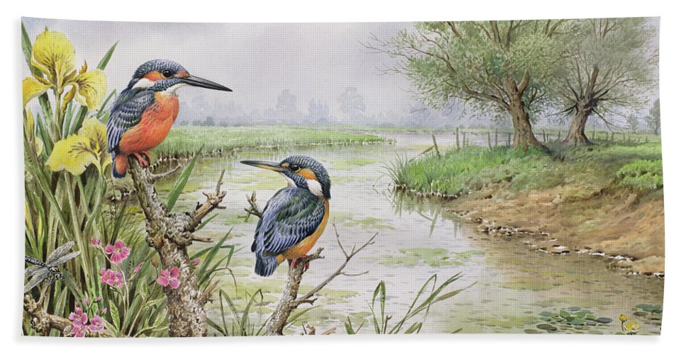 Irises Bath Towel featuring the painting Kingfishers On The Riverbank by Carl Donner