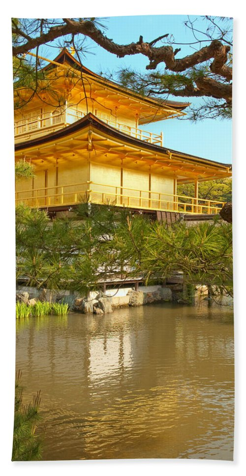 Japan Bath Towel featuring the photograph Kinkakuji Golden Pavilion Kyoto by Sebastian Musial