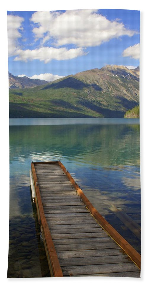 Glacier National Park Hand Towel featuring the photograph Kintla Lake Dock by Marty Koch