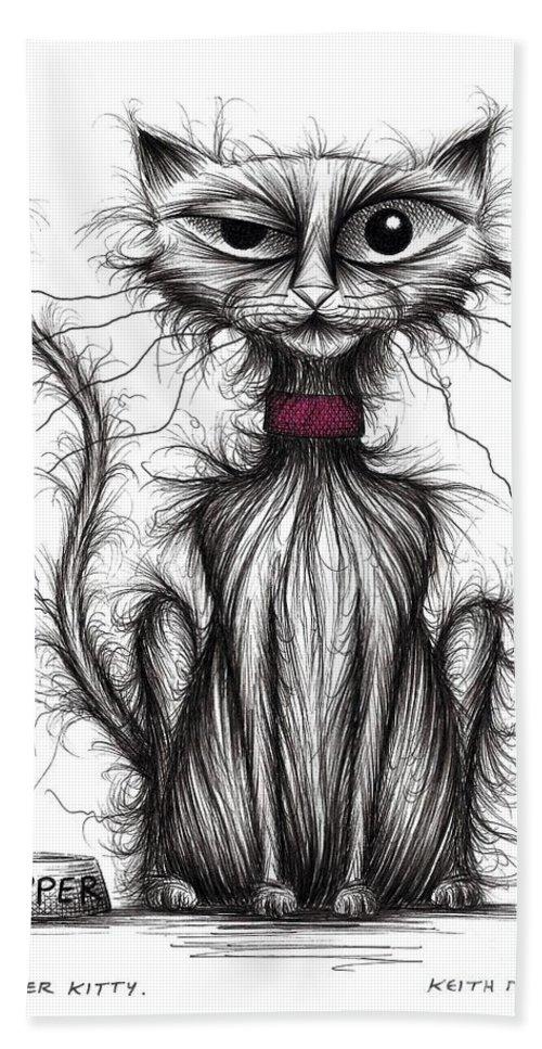 Kipper Kitty Bath Sheet featuring the drawing Kipper Kitty by Keith Mills