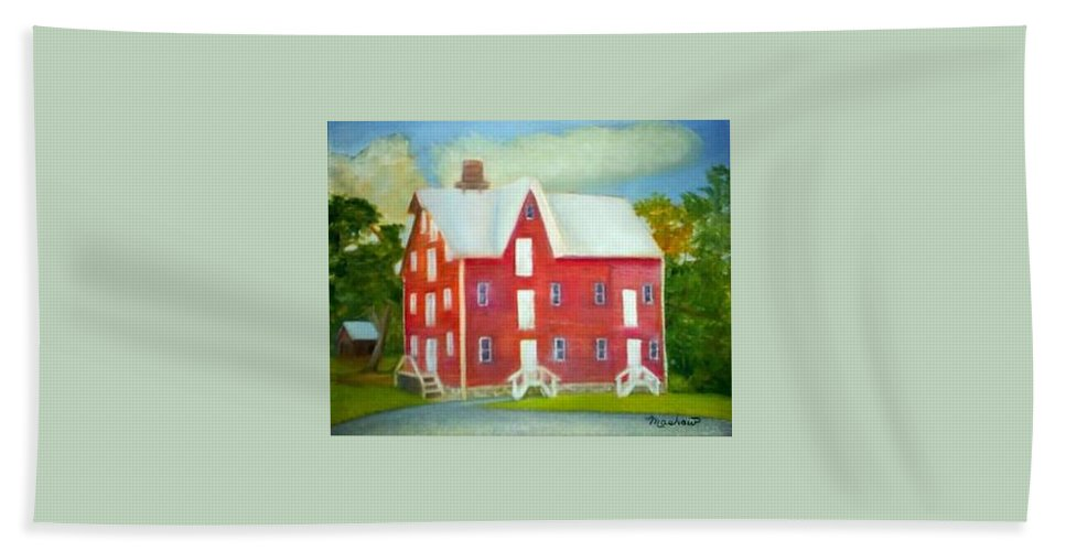 Kirby Mill Bath Towel featuring the painting Kirby's Mil by Sheila Mashaw