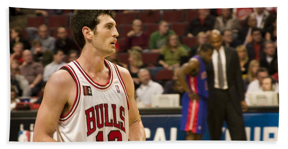 Chicago Windy City Bulls Basketball Nba Kirk Hinrich 12 Game United Center Home Bath Towel featuring the photograph Kirk Hinrich by Andrei Shliakhau