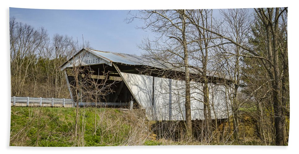 America Hand Towel featuring the photograph Kirker Covered Bridge by Jack R Perry