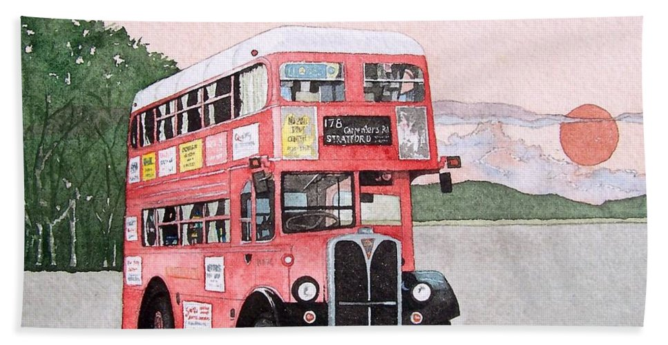 Bus Bath Sheet featuring the painting Kirkland Bus by Gale Cochran-Smith