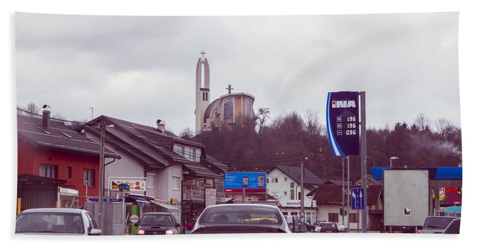 Town Of Kiseljak In Bosnia And Hercegovina Early Spring 2015. Bath Sheet featuring the photograph Kiseljak by Jasmin Hrnjic