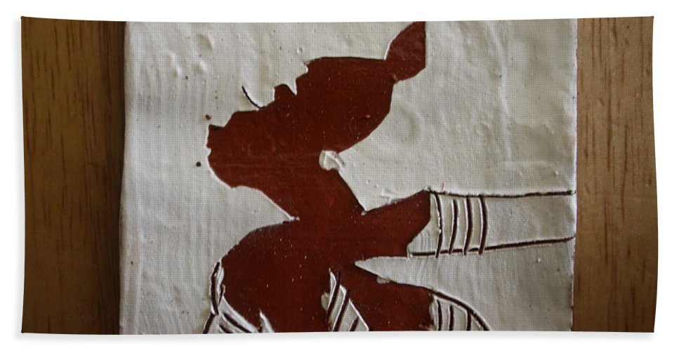 Jesus Hand Towel featuring the ceramic art Kiss - Tile by Gloria Ssali