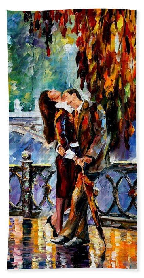 Afremov Bath Sheet featuring the painting Kiss After The Rain by Leonid Afremov