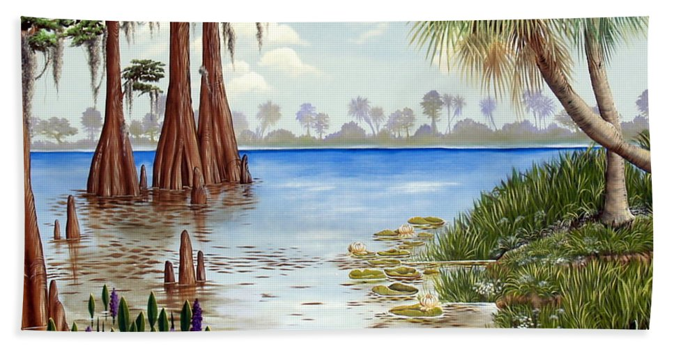 Nature Hand Towel featuring the painting Kissimee River Shore by Monica Turner