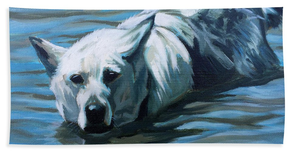 Art Hand Towel featuring the painting Kita Swimming The Platte by Dustin Miller