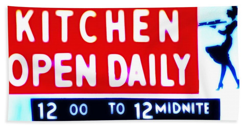Kitchen Hand Towel featuring the photograph Kitchen Open Daily by Bill Cannon