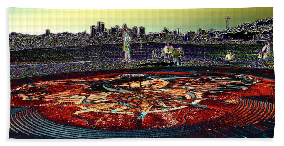 Seattle Hand Towel featuring the photograph Kite Hill Sundial by Tim Allen