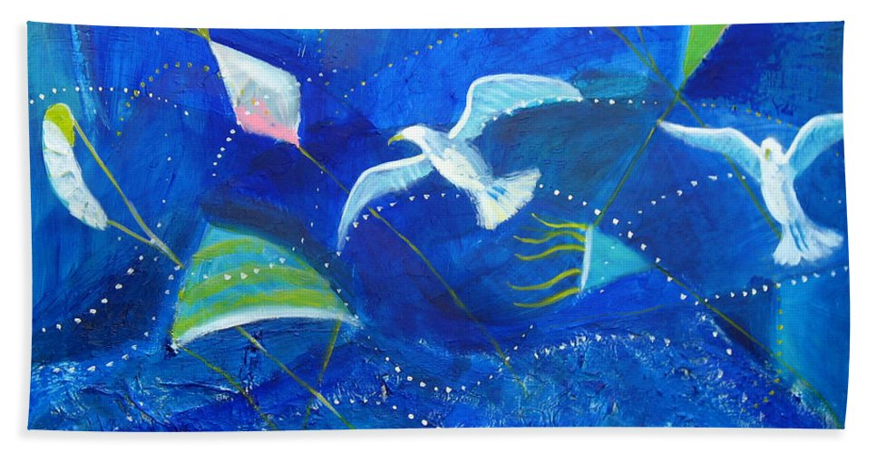 Seagull Bath Sheet featuring the painting Kites And Seagulls Over Pacific by Aliza Souleyeva-Alexander