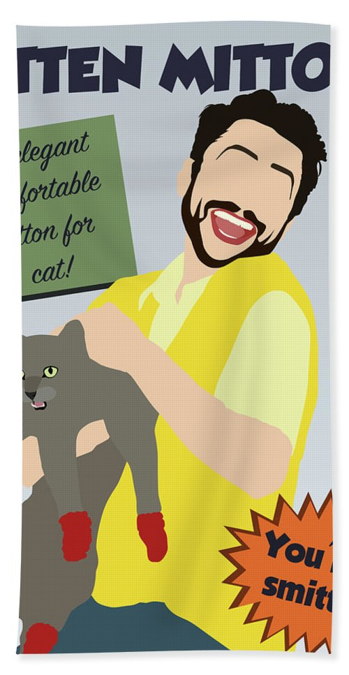 Kitten Mittens Bath Sheet featuring the digital art Kitten Mittons by Kelsey Hoefling