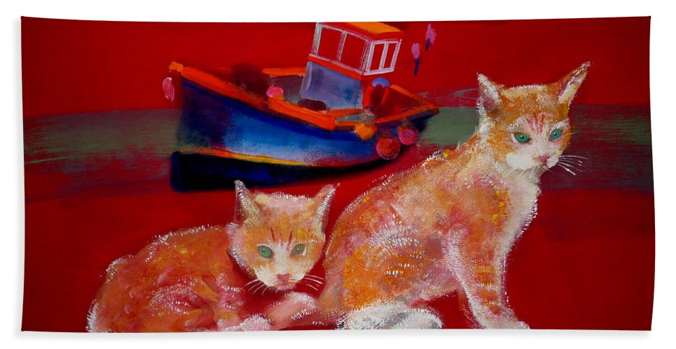 Kittens Hand Towel featuring the painting Kittens On The Beach by Charles Stuart
