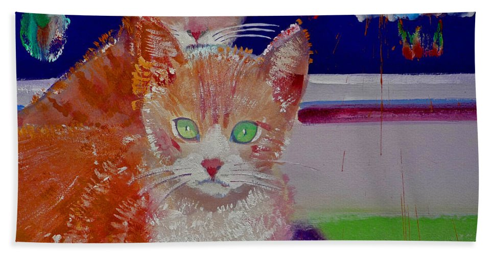 Kittens Bath Towel featuring the painting Kittens With Wild Wallpaper by Charles Stuart