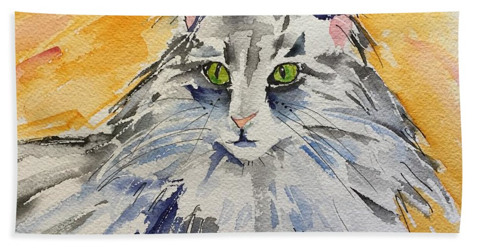 Cat Hand Towel featuring the painting Kitty by Bonny Butler