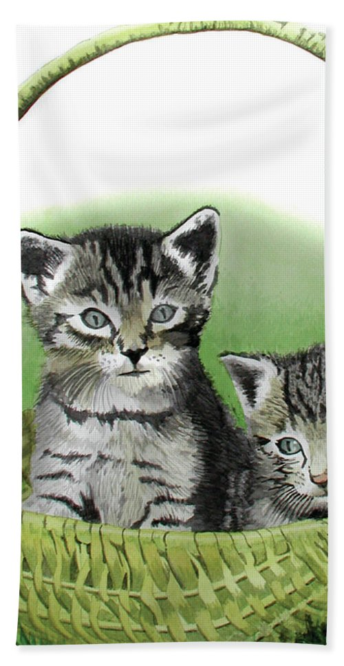 Cat Bath Sheet featuring the painting Kitty Caddy by Ferrel Cordle