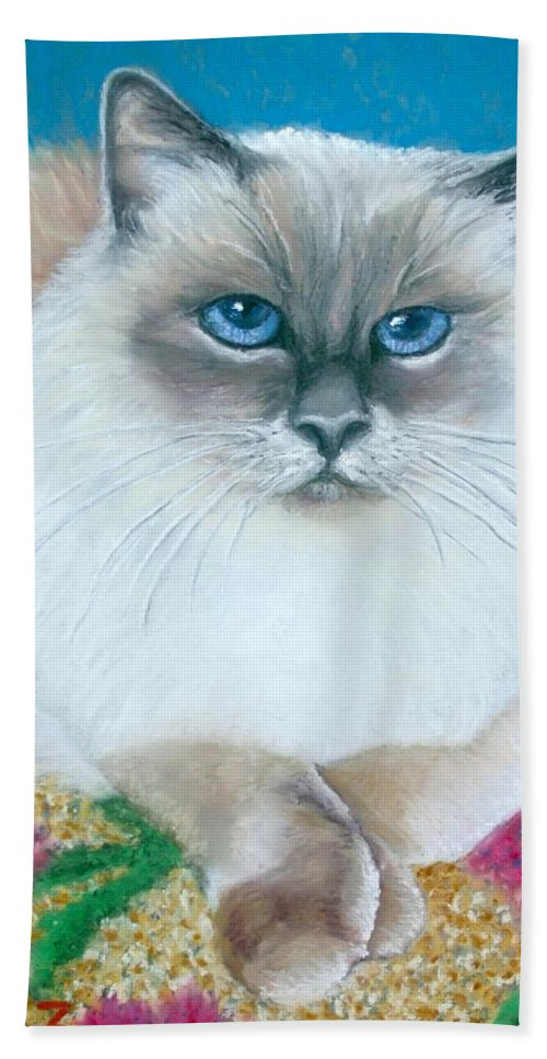 Cat Bath Sheet featuring the painting Kitty Coiffure by Minaz Jantz