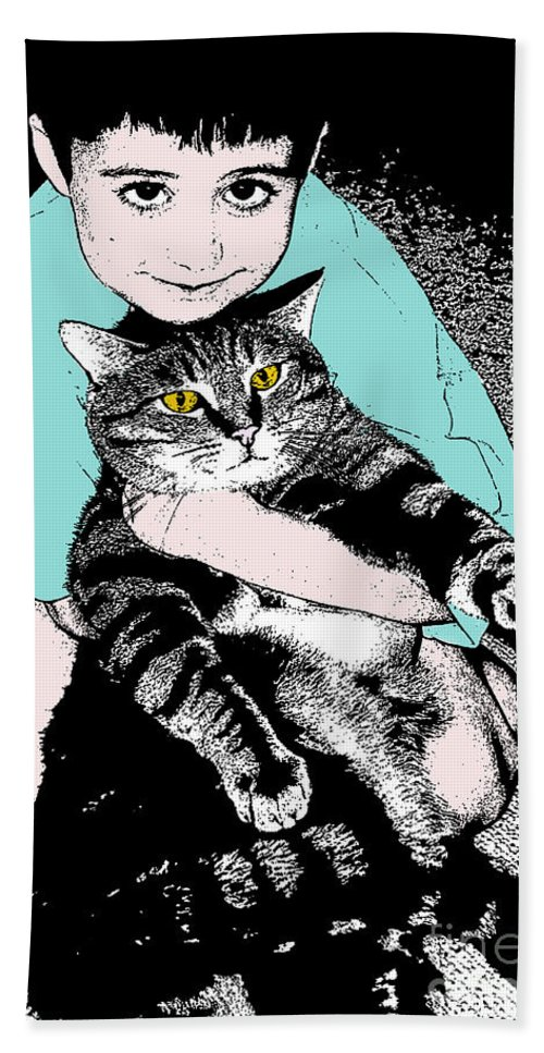 Cat Hand Towel featuring the photograph Kitty Loves Me by Rhonda Chase