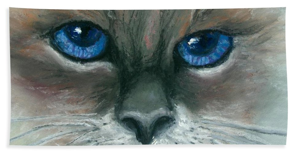 Cat Bath Sheet featuring the painting Kitty Starry Eyes by Minaz Jantz
