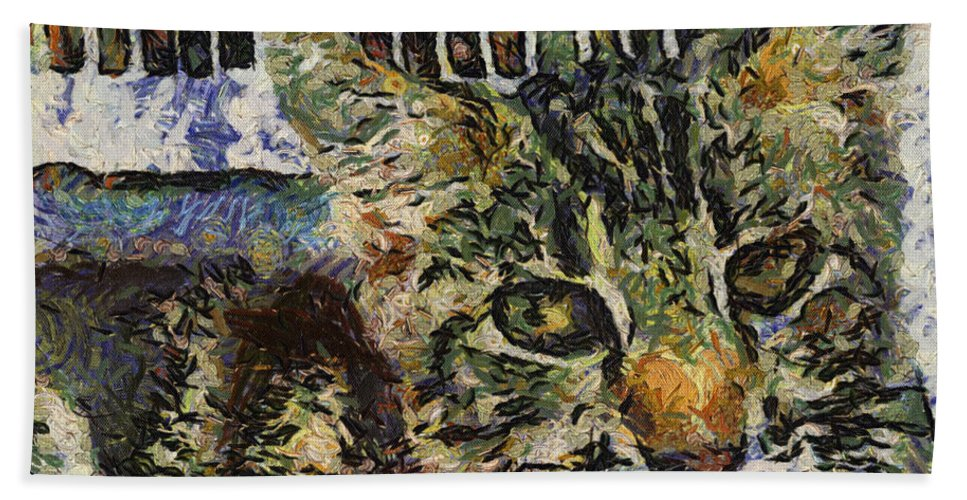 Alicegipsonphotographs Bath Sheet featuring the photograph Kitty Vangoghed by Alice Gipson