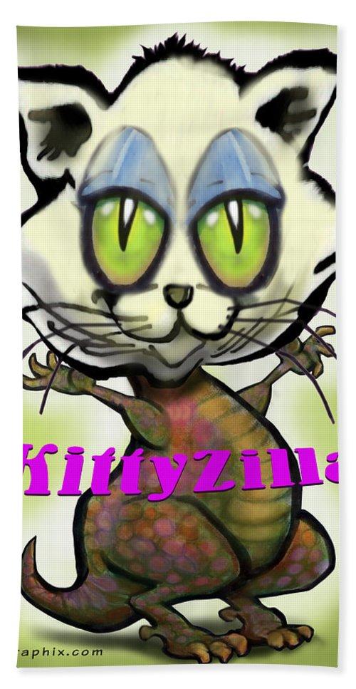 Kittyzilla Bath Sheet featuring the greeting card Kittyzilla by Kevin Middleton