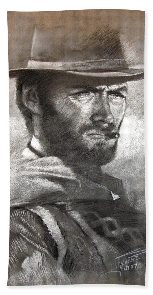 Portrait Bath Sheet featuring the drawing Klint Eastwood by Ylli Haruni
