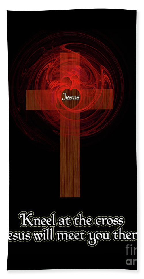 Kneel At The Cross Bath Sheet featuring the painting Kneel At The Cross by Methune Hively