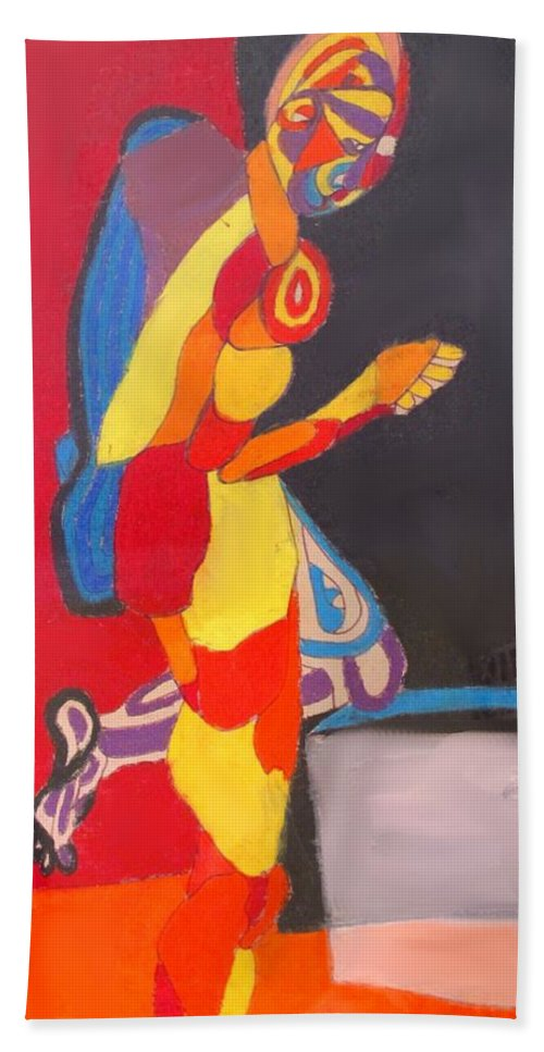 Man Hand Towel featuring the drawing Kneeling by Ian MacDonald