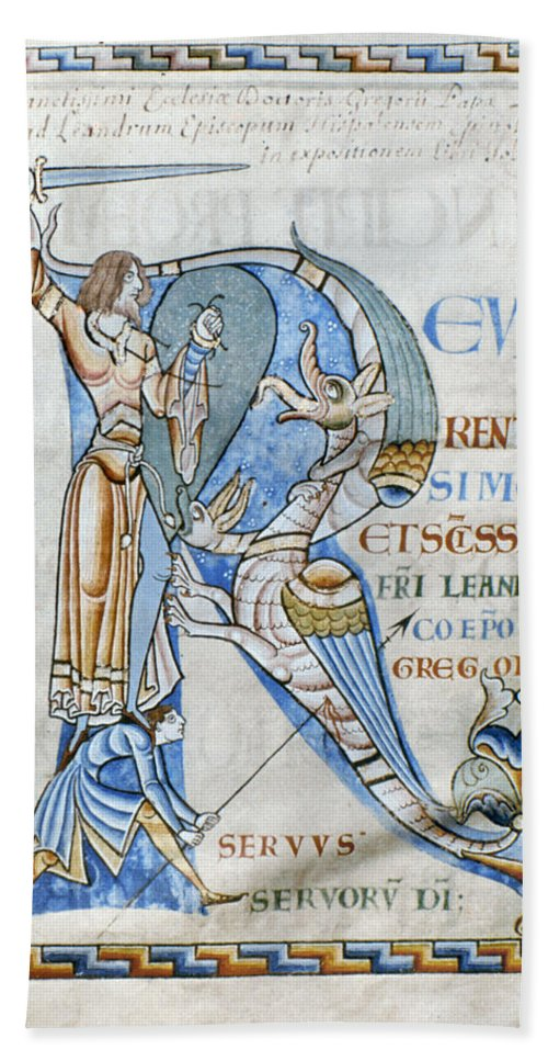 12th Century Bath Sheet featuring the photograph Knight And Monster by Granger