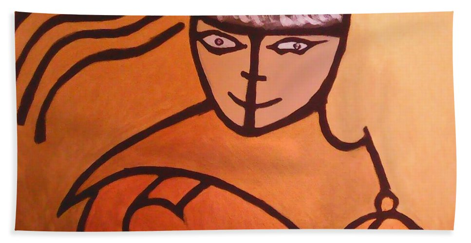 Abstract Art Hand Towel featuring the painting Knight by Marcela Hessari